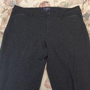 NYDJ sz 12 Grey Stretch Pant Leather Trim $128 new